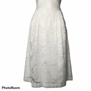J. Crew White Ornate Lace A Line Midi Skirt